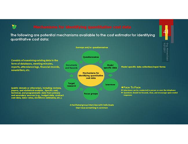 Mechanisms for identifying quantitative cost data